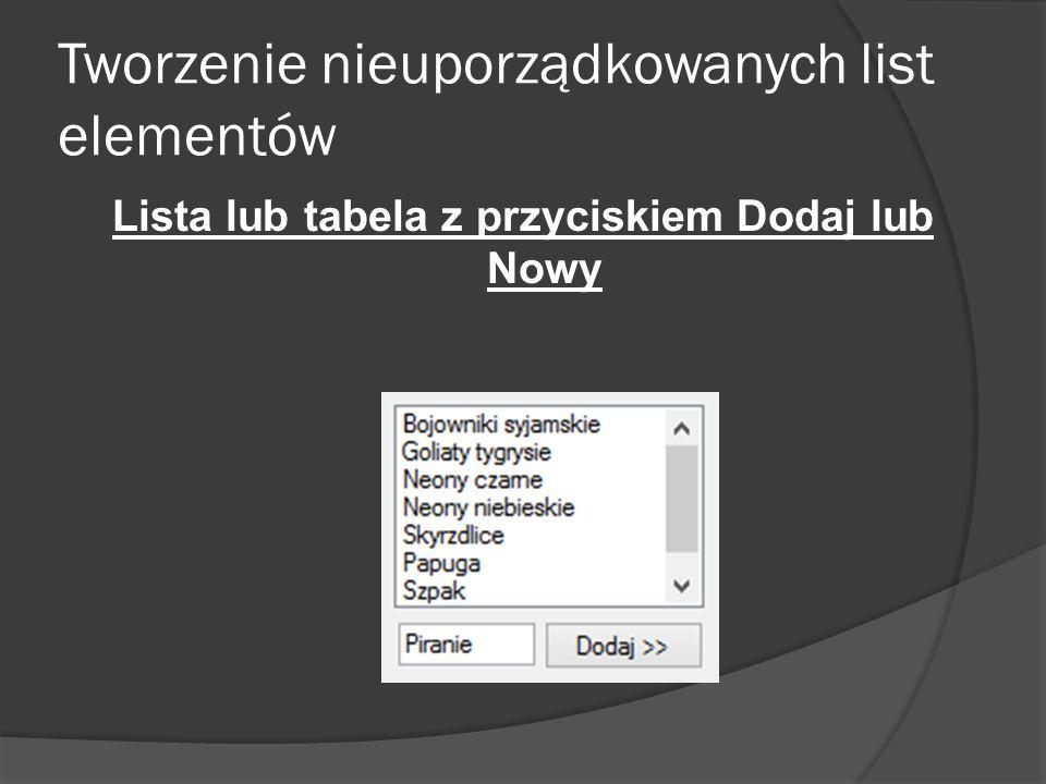 Tworzenie nieuporządkowanych list elementów Lista lub tabela z przyciskiem Dodaj lub Nowy