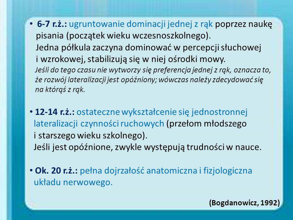 6-7 r.ż.: ugruntowanie dominacji jednej z rąk poprzez naukę pisania (początek wieku wczesnoszkolnego). Jedna półkula zaczyna dominować w percepcji słu