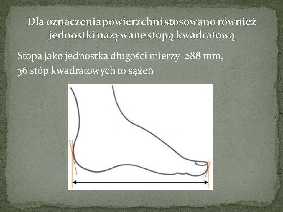 Stopa jako jednostka długości mierzy 288 mm, 36 stóp kwadratowych to sążeń