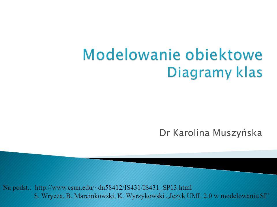 """Dr Karolina Muszyńska Na podst.: http://www.csun.edu/~dn58412/IS431/IS431_SP13.html S. Wrycza, B. Marcinkowski, K. Wyrzykowski """"Język UML 2.0 w modelo"""