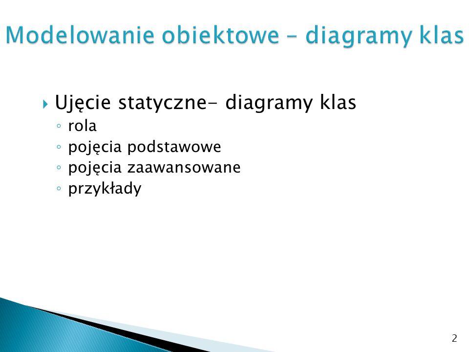  Ujęcie statyczne- diagramy klas ◦ rola ◦ pojęcia podstawowe ◦ pojęcia zaawansowane ◦ przykłady 2