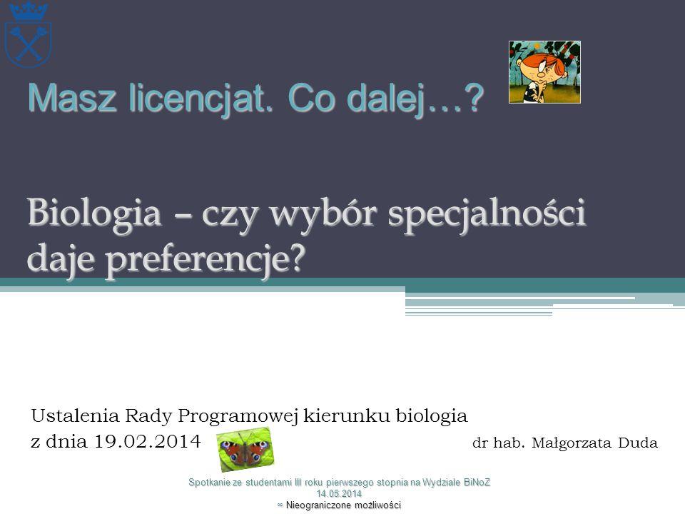 Ustalenia Rady Programowej kierunku biologia z dnia 19.02.2014 dr hab. Małgorzata Duda Spotkanie ze studentami III roku pierwszego stopnia na Wydziale