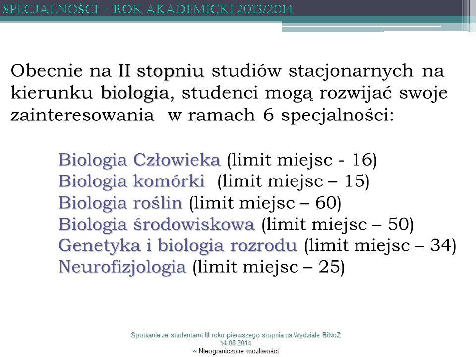 Specjalność Miejsce realizacji Koordynator Biologia Biologia człowieka człowieka Zakład Antropologii dr hab.