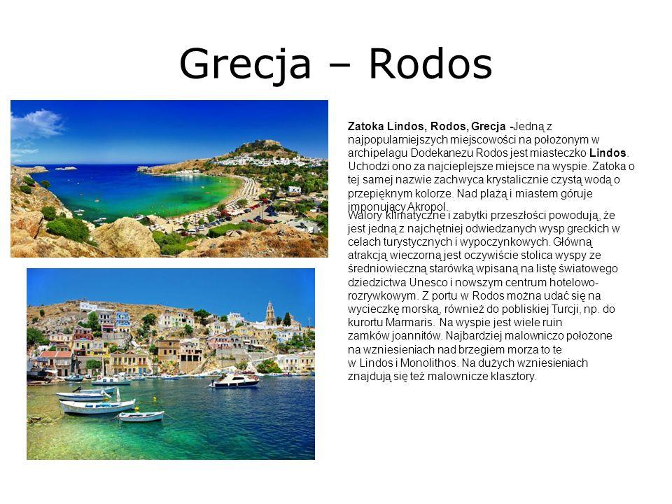 Grecja – Rodos Zatoka Lindos, Rodos, Grecja -Jedną z najpopularniejszych miejscowości na położonym w archipelagu Dodekanezu Rodos jest miasteczko Lindos.