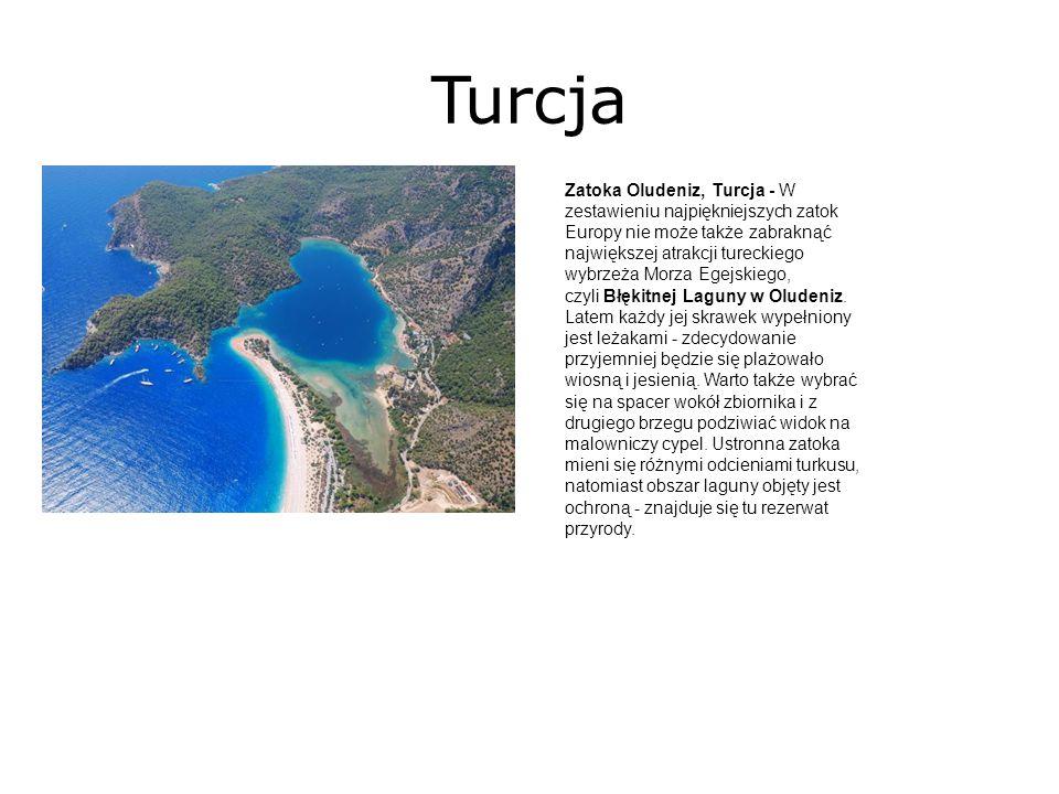 Turcja Zatoka Oludeniz, Turcja - W zestawieniu najpiękniejszych zatok Europy nie może także zabraknąć największej atrakcji tureckiego wybrzeża Morza Egejskiego, czyli Błękitnej Laguny w Oludeniz.