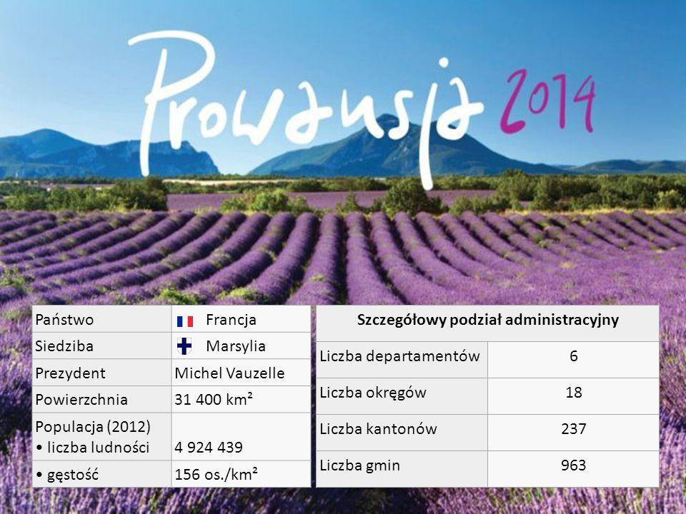 Państwo Francja Siedziba Marsylia PrezydentMichel Vauzelle Powierzchnia31 400 km² Populacja (2012) liczba ludności4 924 439 gęstość156 os./km² Szczegółowy podział administracyjny Liczba departamentów6 Liczba okręgów18 Liczba kantonów237 Liczba gmin963