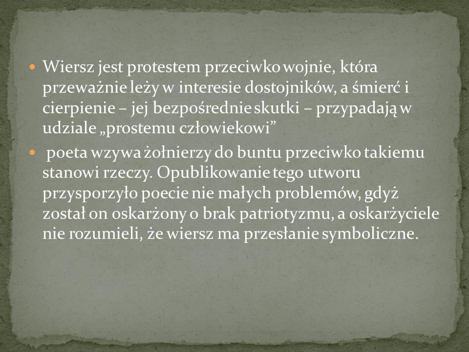 Wiersz jest protestem przeciwko wojnie, która przeważnie leży w interesie dostojników, a śmierć i cierpienie – jej bezpośrednie skutki – przypadają w