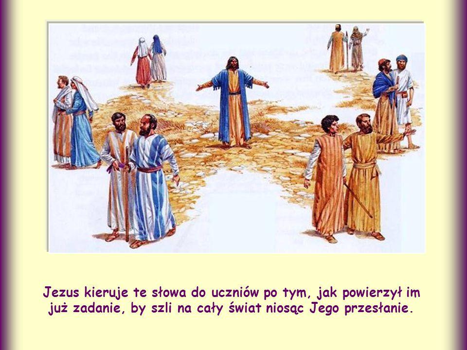 Jezus kieruje te słowa do uczniów po tym, jak powierzył im już zadanie, by szli na cały świat niosąc Jego przesłanie.