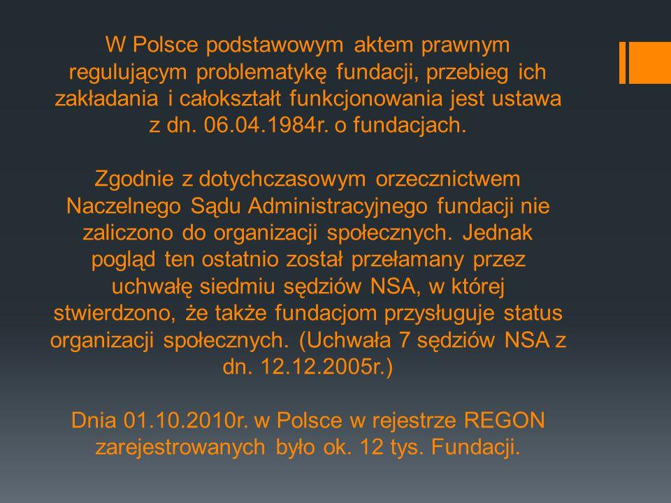 W Polsce podstawowym aktem prawnym regulującym problematykę fundacji, przebieg ich zakładania i całokształt funkcjonowania jest ustawa z dn.