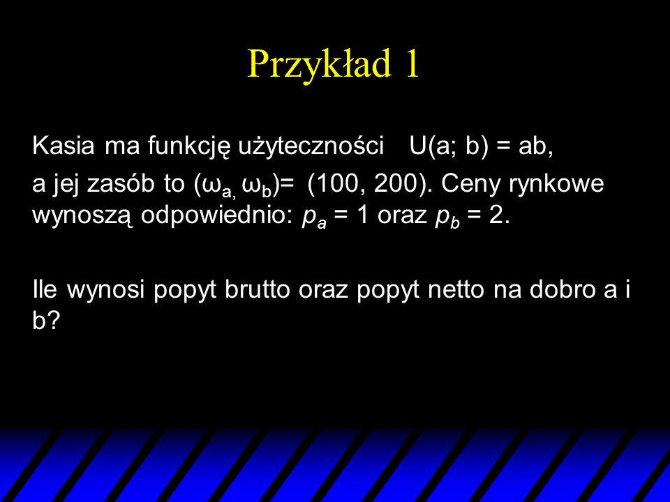 Przykład 1 Kasia ma funkcję użyteczności U(a; b) = ab, a jej zasób to (ω a, ω b )= (100, 200). Ceny rynkowe wynoszą odpowiednio: p a = 1 oraz p b = 2.