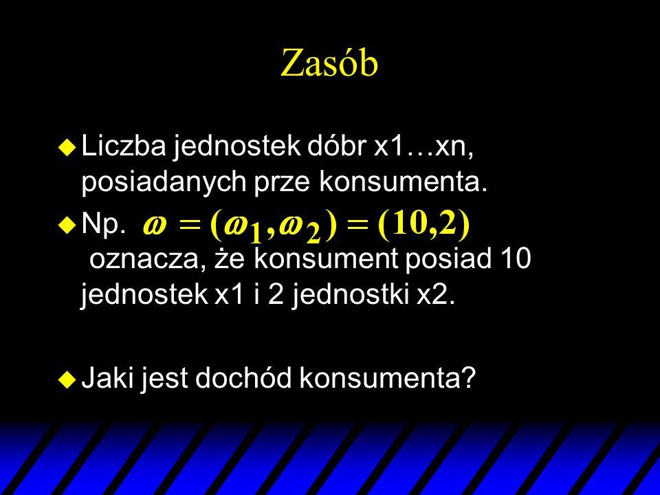 Zasób u Liczba jednostek dóbr x1…xn, posiadanych prze konsumenta. u Np. oznacza, że konsument posiad 10 jednostek x1 i 2 jednostki x2. u Jaki jest doc