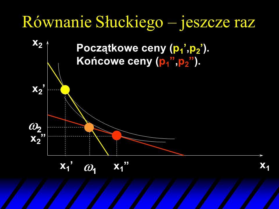 """x1x1 22 11 x2x2 x2'x2' x1""""x1"""" x2""""x2"""" Początkowe ceny (p 1 ',p 2 '). Końcowe ceny (p 1 """",p 2 """"). x1'x1' Równanie Słuckiego – jeszcze raz"""