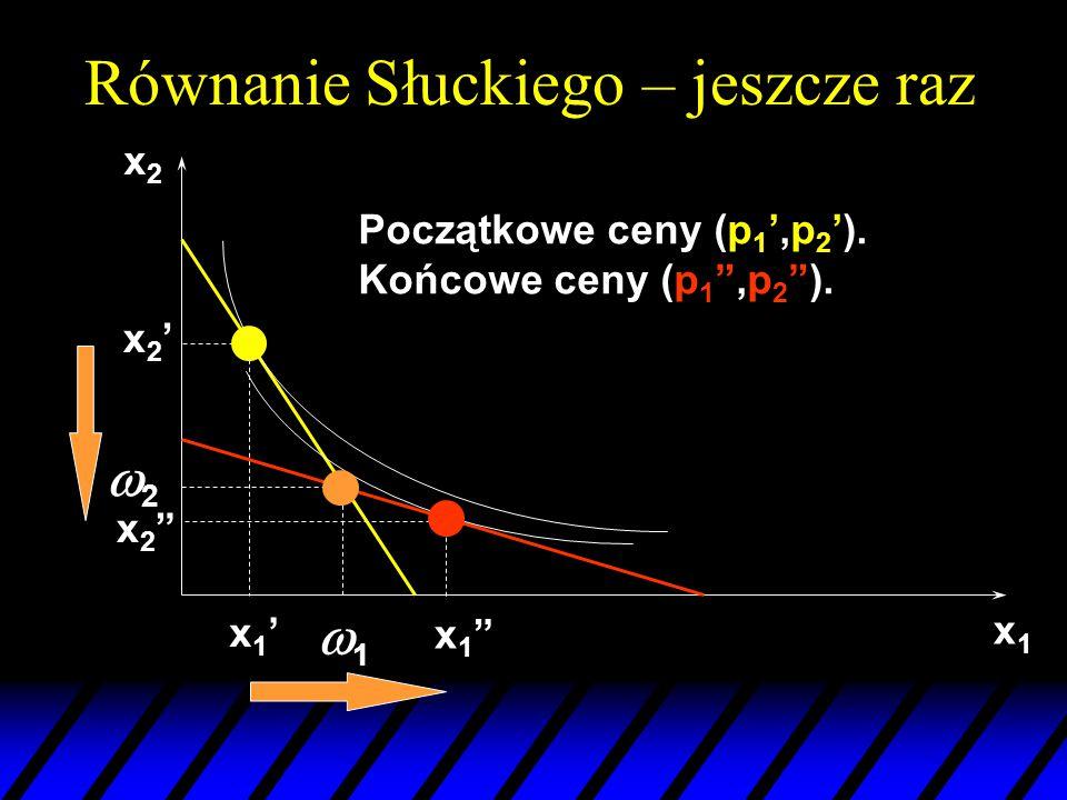 """x1x1 22 11 x2x2 x2'x2' x1""""x1"""" x2""""x2"""" x1'x1' Początkowe ceny (p 1 ',p 2 '). Końcowe ceny (p 1 """",p 2 """"). Równanie Słuckiego – jeszcze raz"""