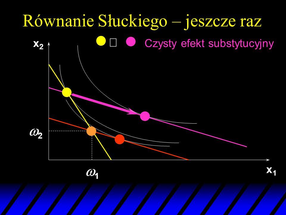 x1x1 22 11 x2x2 Czysty efekt substytucyjny  Równanie Słuckiego – jeszcze raz