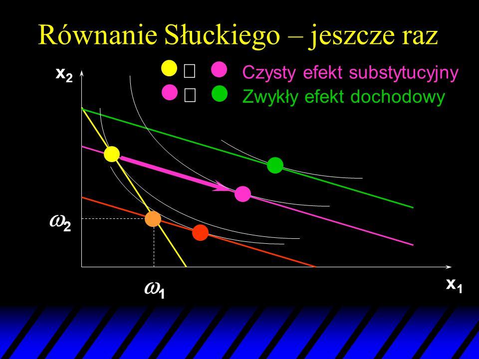 x1x1 22 11 x2x2 Czysty efekt substytucyjny  Zwykły efekt dochodowy  Równanie Słuckiego – jeszcze raz