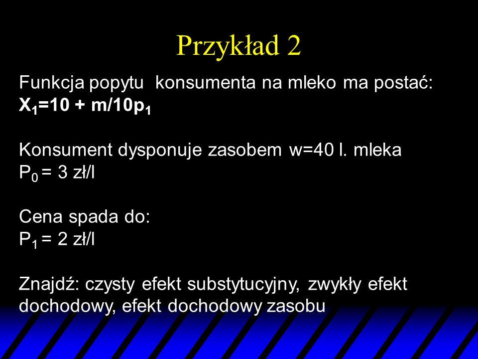 Przykład 2 Funkcja popytu konsumenta na mleko ma postać: X 1 =10 + m/10p 1 Konsument dysponuje zasobem w=40 l. mleka P 0 = 3 zł/l Cena spada do: P 1 =