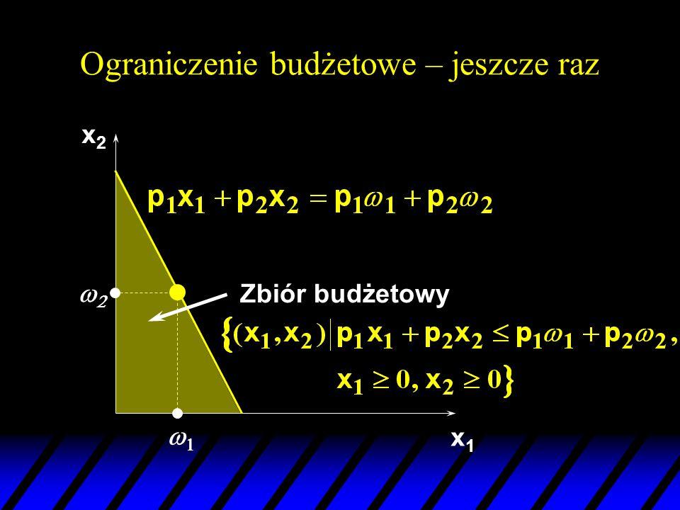 Przykład 2 Funkcja popytu konsumenta na mleko ma postać: X 1 =10 + m/10p 1 Konsument dysponuje zasobem w=40 l.