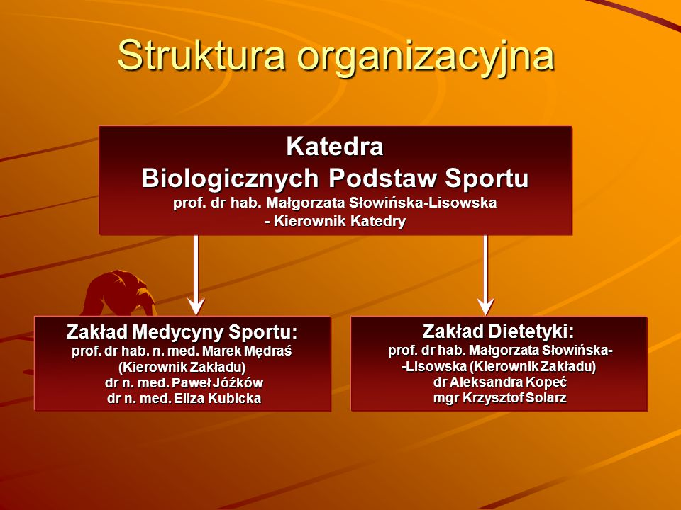 Struktura organizacyjna Katedra Biologicznych Podstaw Sportu prof. dr hab. Małgorzata Słowińska-Lisowska - Kierownik Katedry Zakład Medycyny Sportu: p