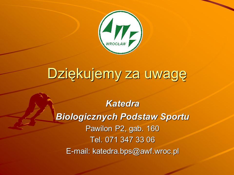 Dziękujemy za uwagę Katedra Biologicznych Podstaw Sportu Pawilon P2, gab. 160 Tel. 071 347 33 06 E-mail: katedra.bps@awf.wroc.pl