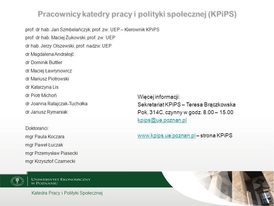 Katedra Pracy i Polityki Społecznej Więcej informacji: Sekretariat KPiPS – Teresa Brączkowska Pok. 314C, czynny w godz. 8.00 – 15.00 kpips@ue.poznan.p