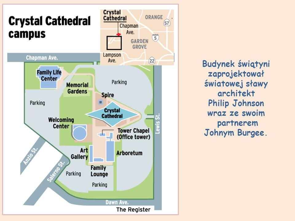 Budynek świątyni zaprojektował światowej sławy architekt Philip Johnson wraz ze swoim partnerem Johnym Burgee.