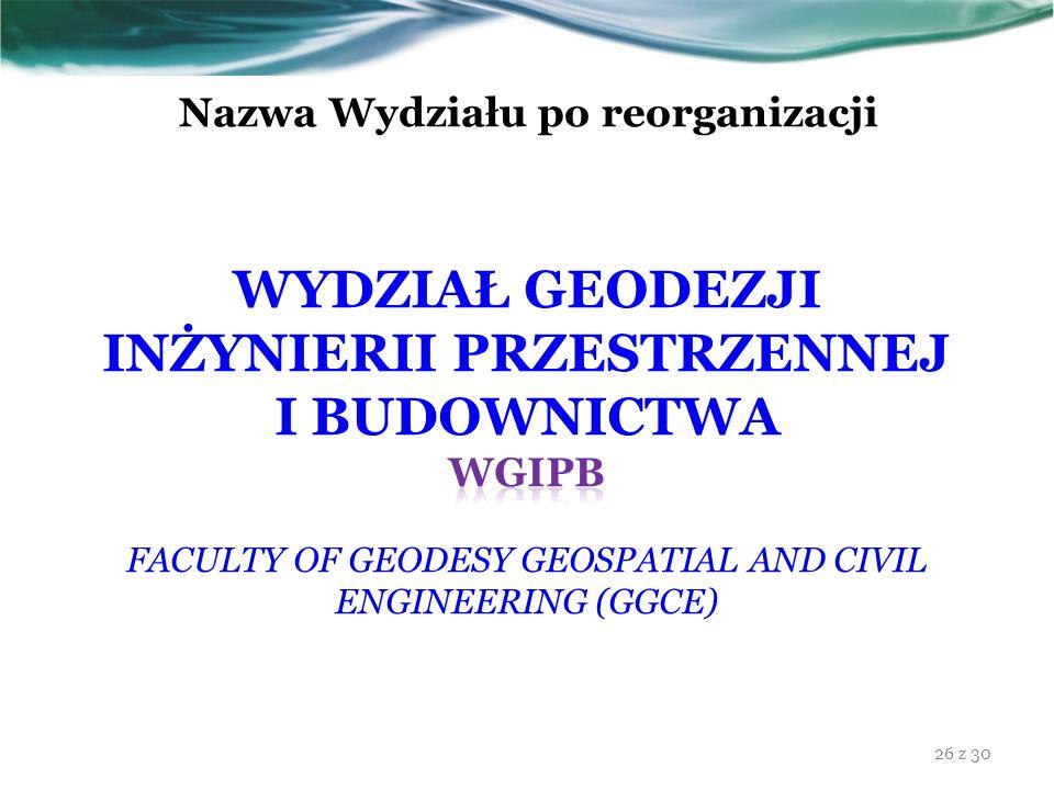 Nazwa Wydziału po reorganizacji 26 z 30