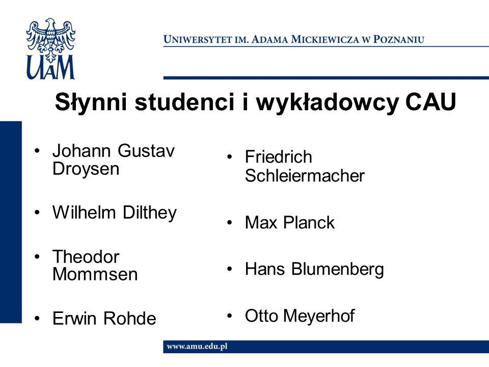 Słynni studenci i wykładowcy CAU Johann Gustav Droysen Wilhelm Dilthey Theodor Mommsen Erwin Rohde Friedrich Schleiermacher Max Planck Hans Blumenberg Otto Meyerhof