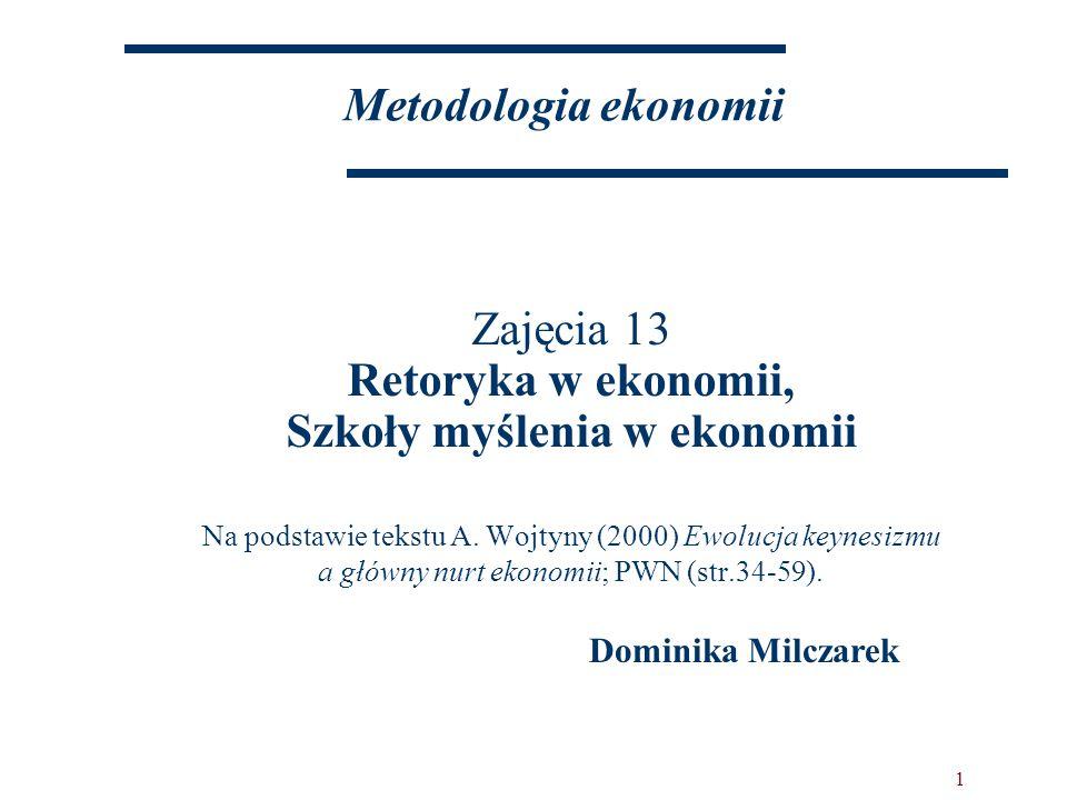1 Metodologia ekonomii Zajęcia 13 Retoryka w ekonomii, Szkoły myślenia w ekonomii Na podstawie tekstu A.