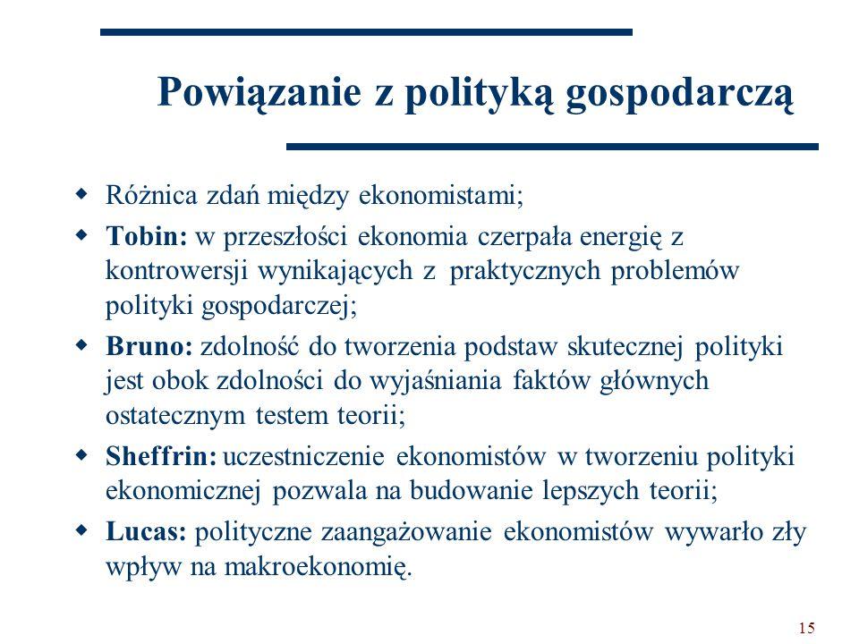 15 Powiązanie z polityką gospodarczą  Różnica zdań między ekonomistami;  Tobin: w przeszłości ekonomia czerpała energię z kontrowersji wynikających z praktycznych problemów polityki gospodarczej;  Bruno: zdolność do tworzenia podstaw skutecznej polityki jest obok zdolności do wyjaśniania faktów głównych ostatecznym testem teorii;  Sheffrin: uczestniczenie ekonomistów w tworzeniu polityki ekonomicznej pozwala na budowanie lepszych teorii;  Lucas: polityczne zaangażowanie ekonomistów wywarło zły wpływ na makroekonomię.
