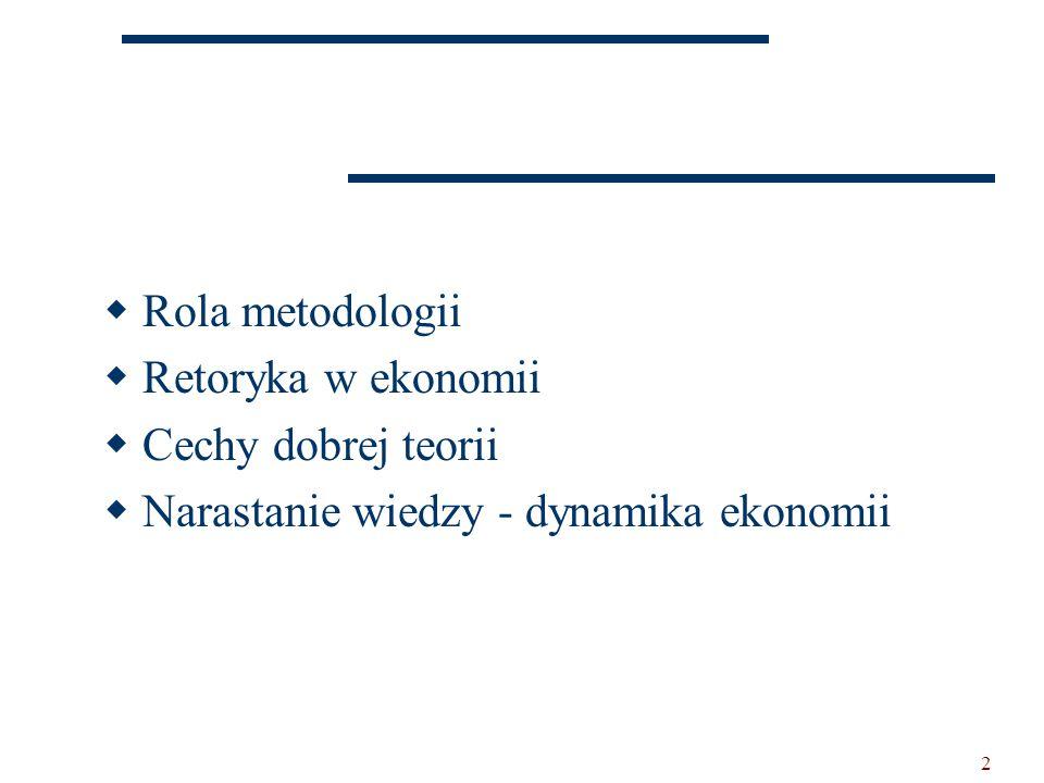 2  Rola metodologii  Retoryka w ekonomii  Cechy dobrej teorii  Narastanie wiedzy - dynamika ekonomii