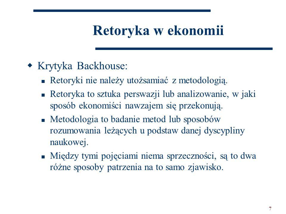 7 Retoryka w ekonomii  Krytyka Backhouse: Retoryki nie należy utożsamiać z metodologią.