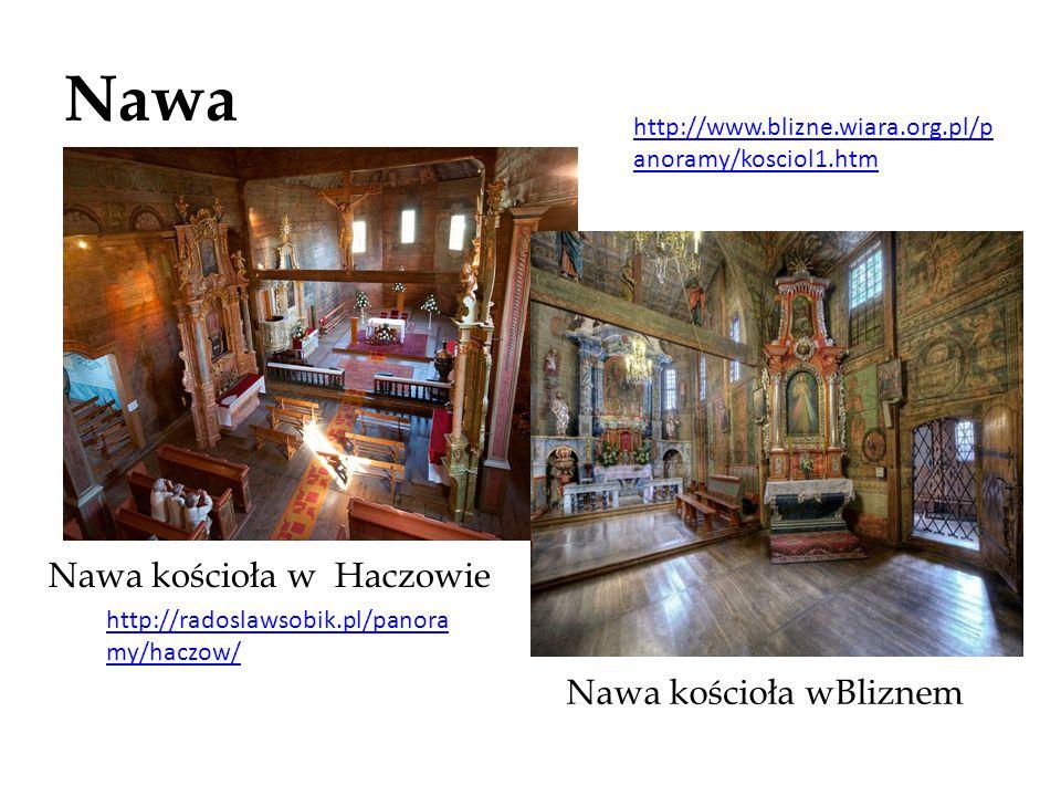 Nawa Nawa kościoła w Haczowie Nawa kościoła wBliznem http://www.blizne.wiara.org.pl/p anoramy/kosciol1.htm http://radoslawsobik.pl/panora my/haczow/