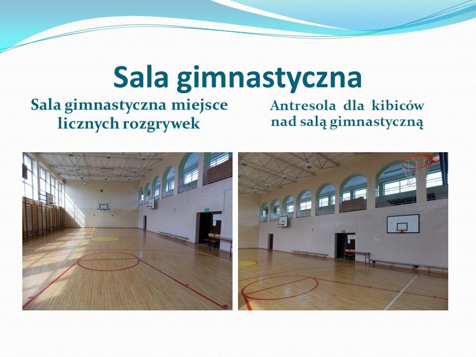 Sala gimnastyczna Sala gimnastyczna miejsce licznych rozgrywek Antresola dla kibiców nad salą gimnastyczną
