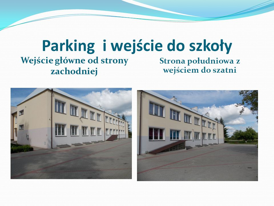 Parking i wejście do szkoły Wejście główne od strony zachodniej Strona południowa z wejściem do szatni