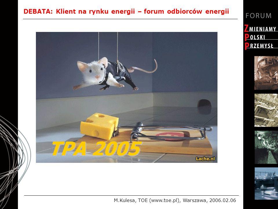 DEBATA: Klient na rynku energii – forum odbiorców energii M.Kulesa, TOE (www.toe.pl), Warszawa, 2006.02.06 TPA 2005