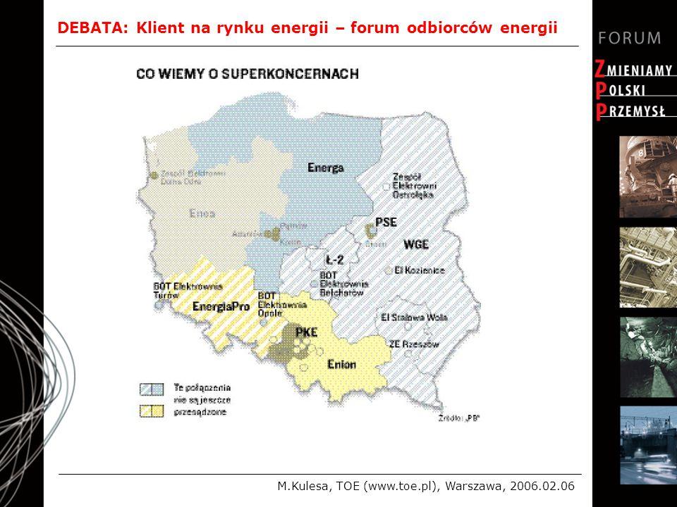 DEBATA: Klient na rynku energii – forum odbiorców energii M.Kulesa, TOE (www.toe.pl), Warszawa, 2006.02.06