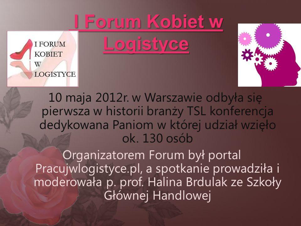 I Forum Kobiet w Logistyce I Forum Kobiet w Logistyce 10 maja 2012r. w Warszawie odbyła się pierwsza w historii branży TSL konferencja dedykowana Pani