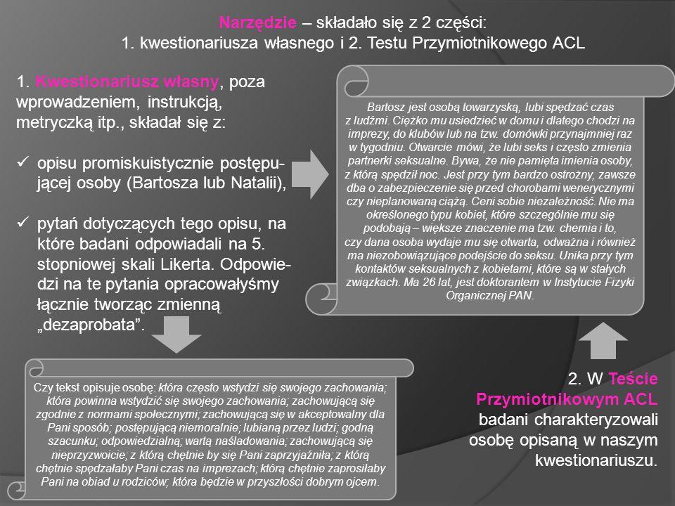 Narzędzie – składało się z 2 części: 1. kwestionariusza własnego i 2. Testu Przymiotnikowego ACL 1. Kwestionariusz własny, poza wprowadzeniem, instruk