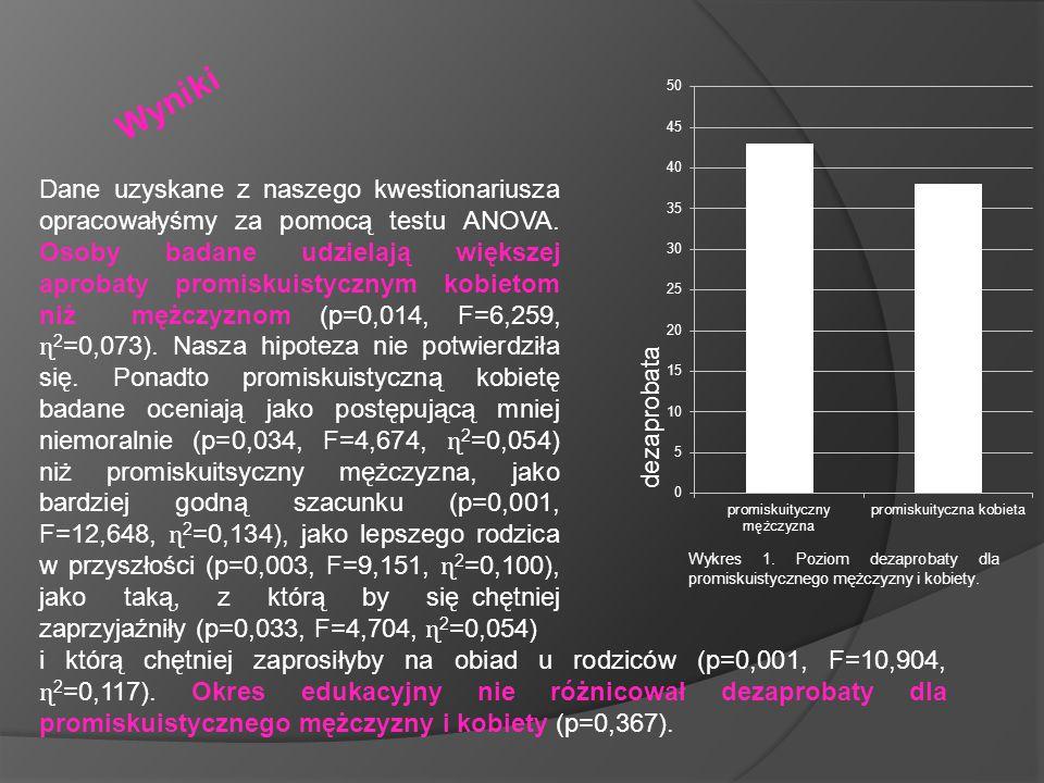 """Do opisu kobiet najczęściej użyto: aktywny (36) towarzyski (33) bez zahamowań (33) energiczny (32) poszukujący przyjemności (31) zaś do opisu mężczyzn: aktywny (38) poszukujący przyjemności (38) pewny siebie (35) energiczny (34) bez zahamowań (32) W grupie kobiet wybrano więcej aprobujących przymiotników (takich, które nie mają pejoratywnego lub neutralnego wydźwięku: """"aktywny , """"towarzyski , """"energiczny ) niż do opisu mężczyzn (""""aktywny , """"energiczny )."""