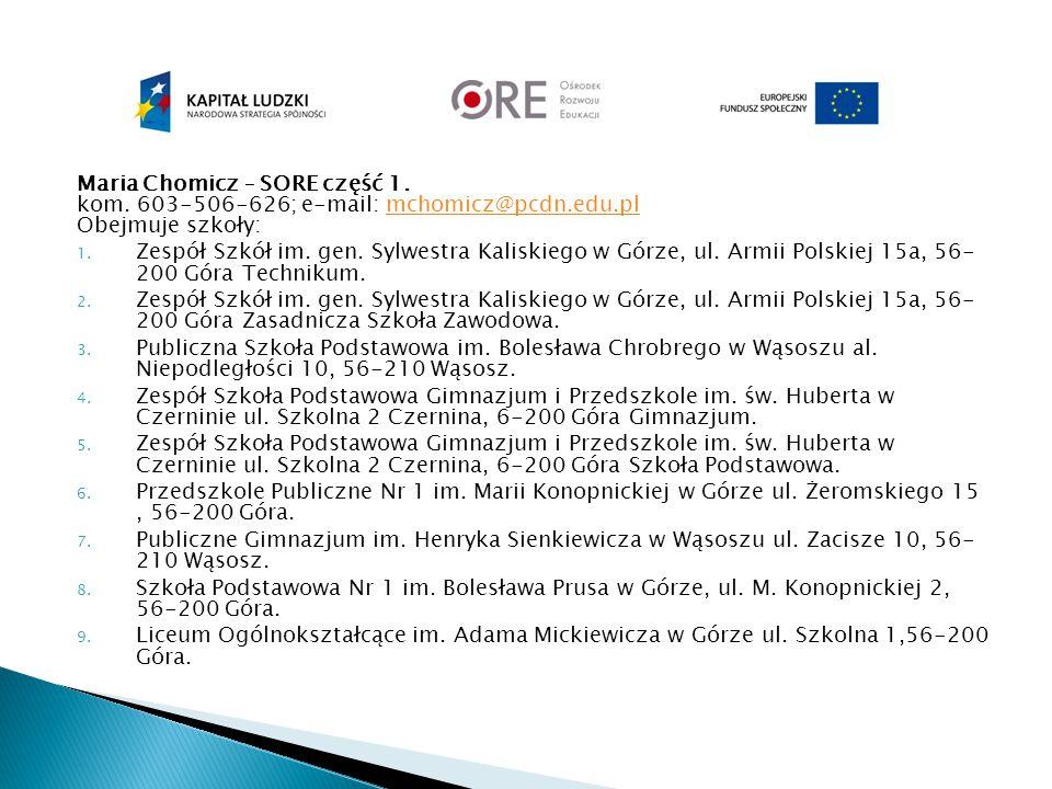 Maria Chomicz – SORE część 1. kom. 603-506-626; e-mail: mchomicz@pcdn.edu.pl Obejmuje szkoły:mchomicz@pcdn.edu.pl 1. Zespół Szkół im. gen. Sylwestra K