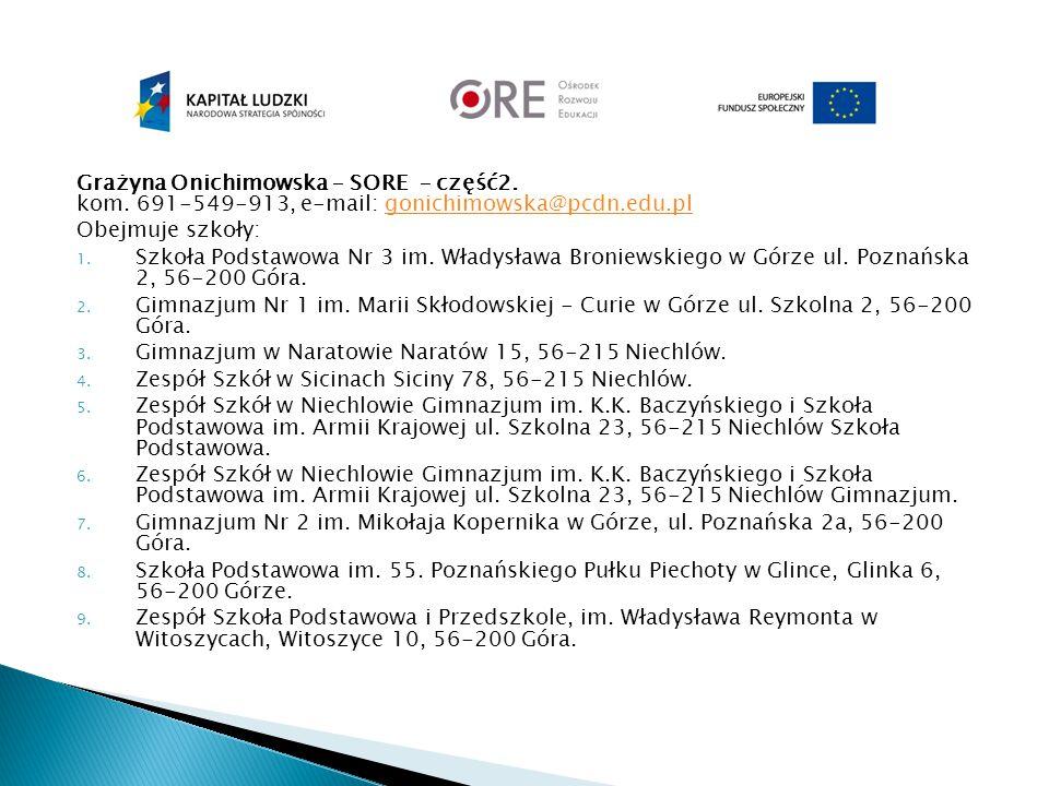 Grażyna Onichimowska – SORE – część2. kom. 691-549-913, e-mail: gonichimowska@pcdn.edu.plgonichimowska@pcdn.edu.pl Obejmuje szkoły: 1. Szkoła Podstawo