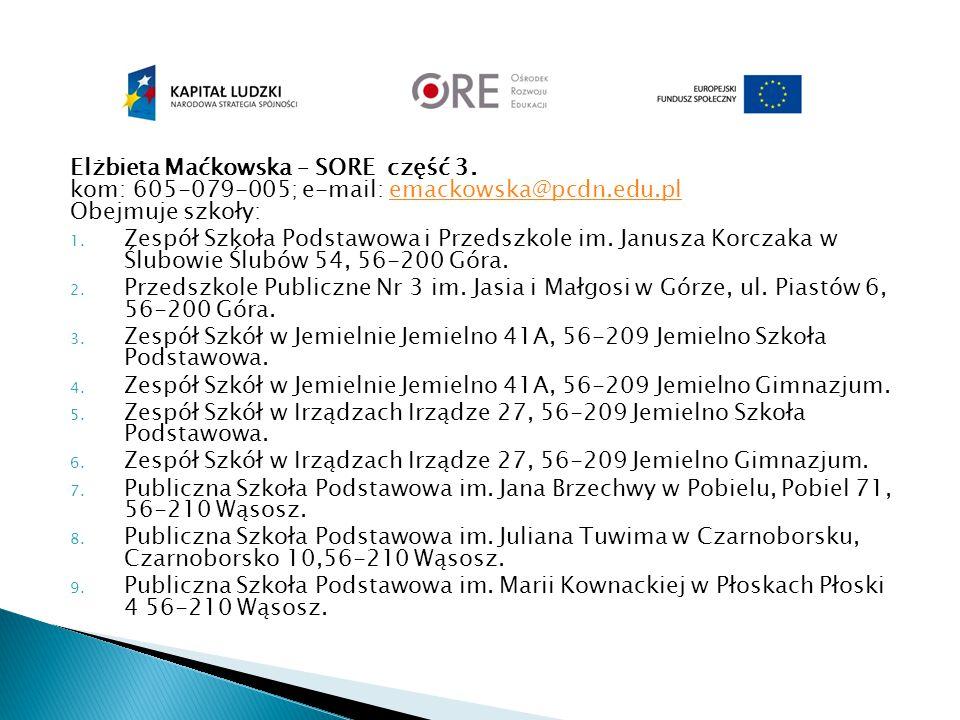 Elżbieta Maćkowska – SORE część 3. kom: 605-079-005; e-mail: emackowska@pcdn.edu.pl Obejmuje szkoły:emackowska@pcdn.edu.pl 1. Zespół Szkoła Podstawowa