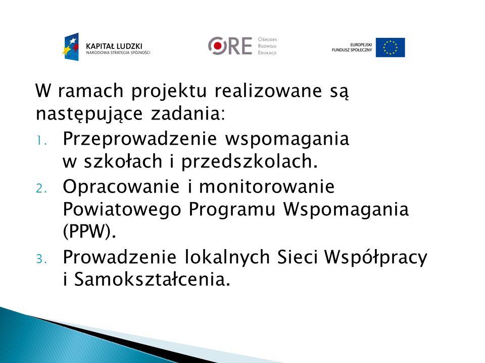 W ramach projektu realizowane są następujące zadania: 1. Przeprowadzenie wspomagania w szkołach i przedszkolach. 2. Opracowanie i monitorowanie Powiat