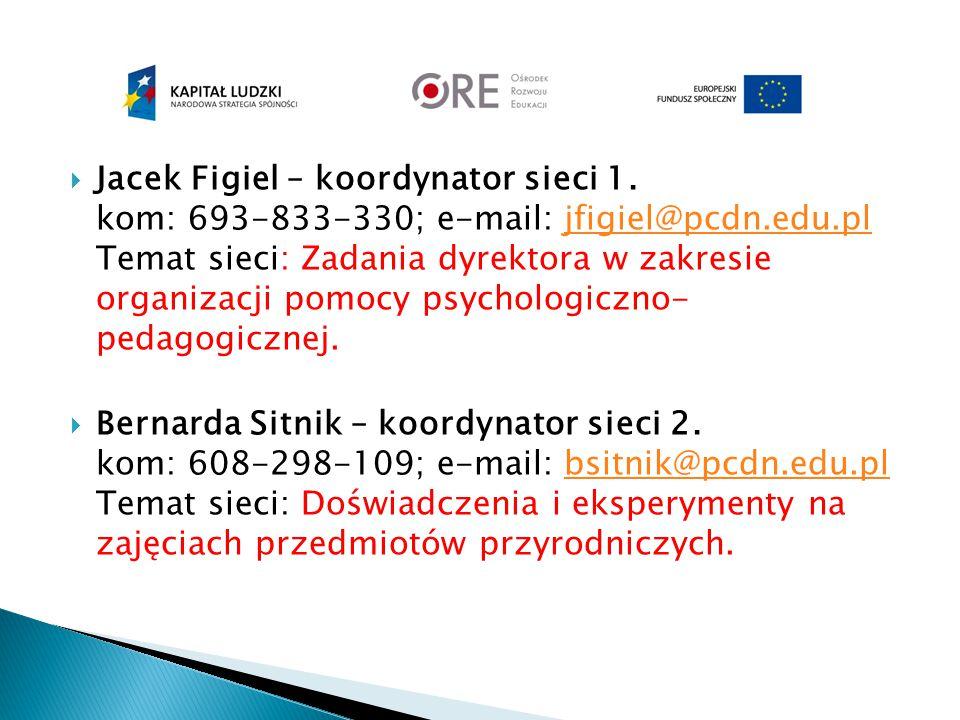  Jacek Figiel – koordynator sieci 1. kom: 693-833-330; e-mail: jfigiel@pcdn.edu.pl Temat sieci: Zadania dyrektora w zakresie organizacji pomocy psych