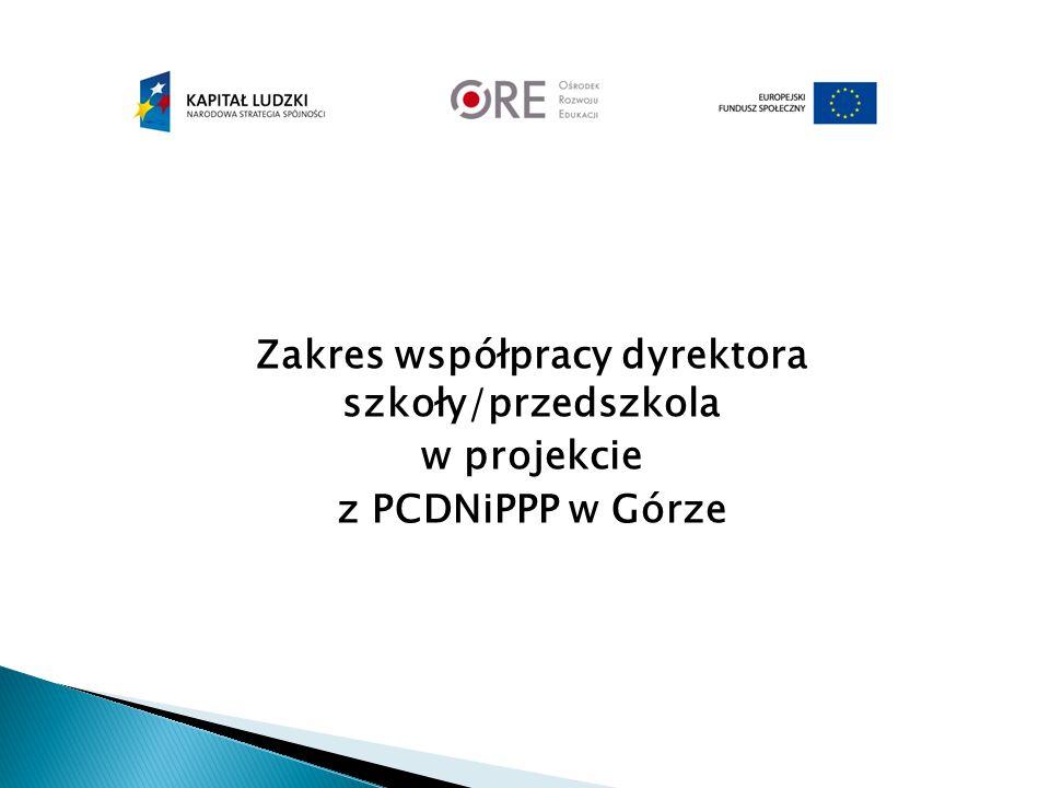 Zakres współpracy dyrektora szkoły/przedszkola w projekcie z PCDNiPPP w Górze