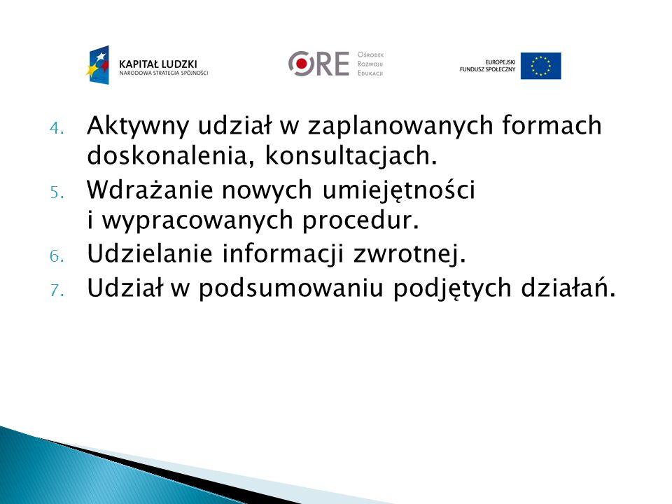 4. Aktywny udział w zaplanowanych formach doskonalenia, konsultacjach. 5. Wdrażanie nowych umiejętności i wypracowanych procedur. 6. Udzielanie inform