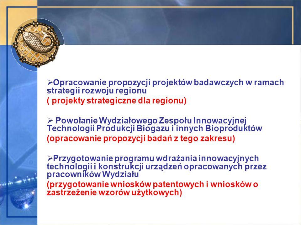  Opracowanie propozycji projektów badawczych w ramach strategii rozwoju regionu ( projekty strategiczne dla regionu)  Powołanie Wydziałowego Zespołu