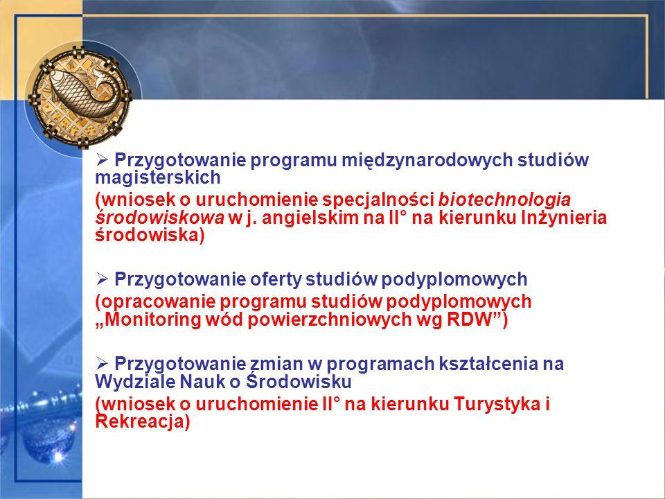  Przygotowanie programu międzynarodowych studiów magisterskich (wniosek o uruchomienie specjalności biotechnologia środowiskowa w j. angielskim na II