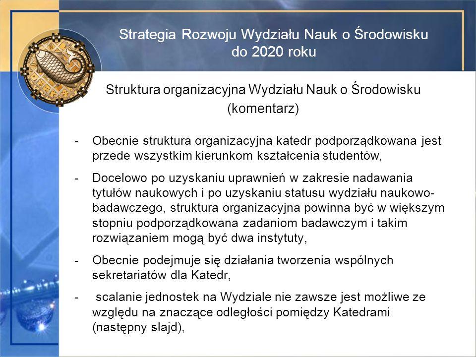Strategia Rozwoju Wydziału Nauk o Środowisku do 2020 roku Struktura organizacyjna Wydziału Nauk o Środowisku (komentarz) -Obecnie struktura organizacy