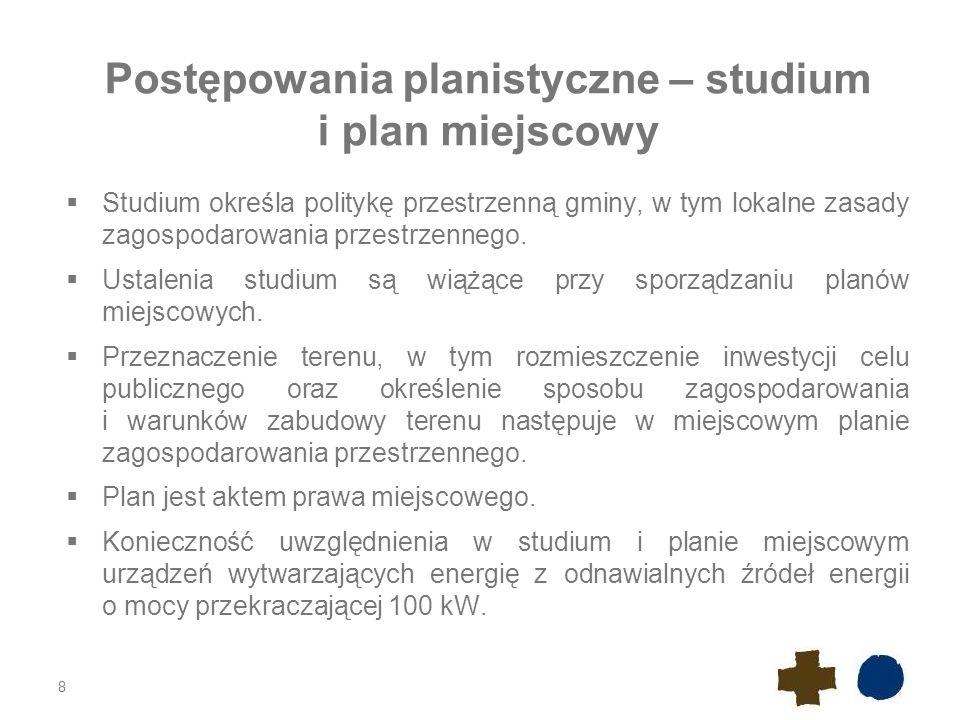 Postępowania planistyczne – studium i plan miejscowy  Studium określa politykę przestrzenną gminy, w tym lokalne zasady zagospodarowania przestrzennego.
